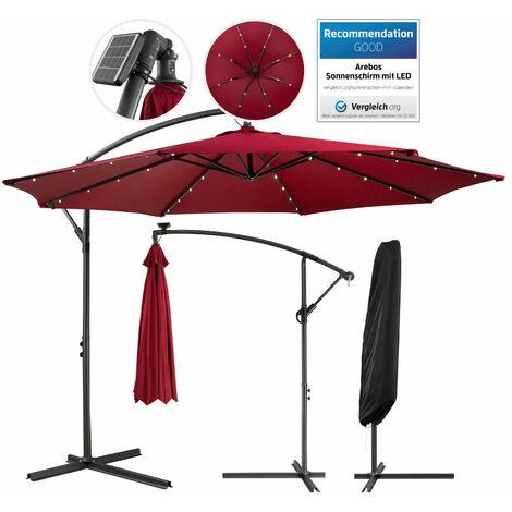 Patio Umbrella LED Hanging Umbrella Luxury Parasols Ø3m Red