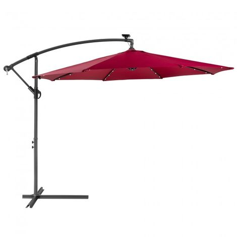 Patio Umbrella LED Hanging Umbrella Luxury Parasols Ø3m Red