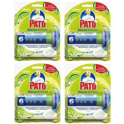 Pato - Discos Activos limpiador automático para inodoro Lima, aplicador y disco (Pack de 4)