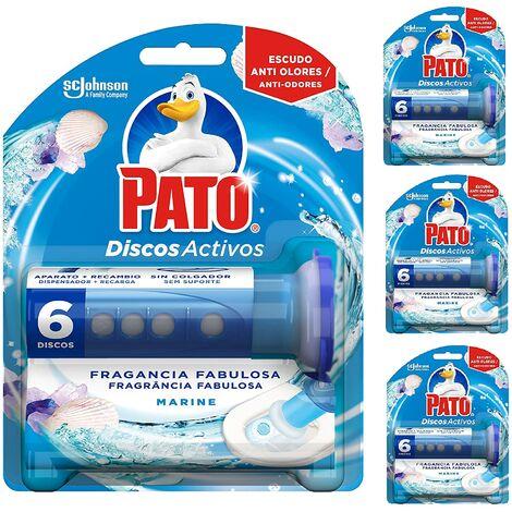 Pato - Discos Activos limpiador automático para inodoro Marine, aplicador y disco (Pack de 4)