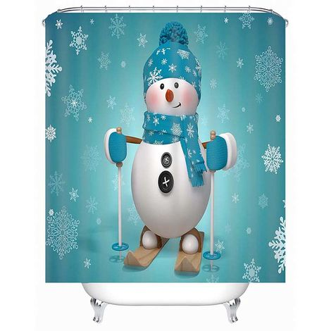 Patrón de muñeco de nieve navideño Juego de tapetes de baño Cortinas de ducha de Santa