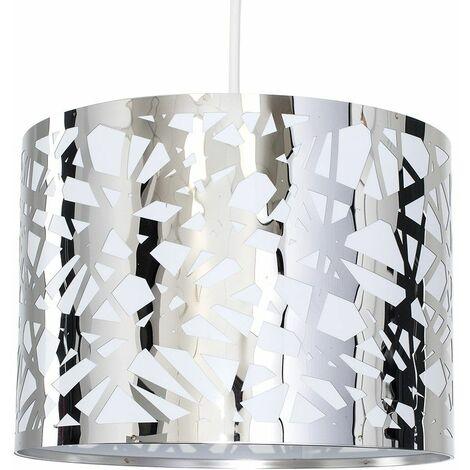 Pattern Ceiling Pendant Light Shade Criss Cross Chrome - Silver