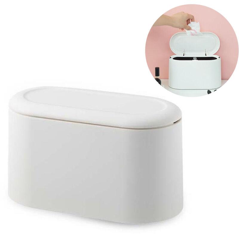 Pattumiera da tavolo con coperchio, mini pattumiera da tavolo, pattumiera cosmetica da bagno pattumiera da tavolo per cucina bagno scrivania wc