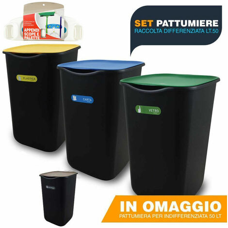 Pattumiera raccolta differenziata SET 4PZ pattumiere bidone differenziat esterno
