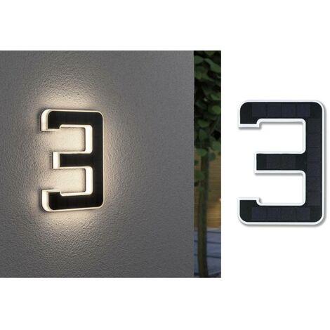 Paulmann 79844 Eclairage solaire pour numéro de maison 0.20 W blanc chaud noir
