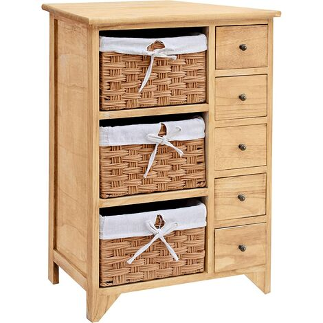 Paulownia Original Wood Colour 5-Layer Cabinet Drawer Chest with Wicker Baskets (Wood)