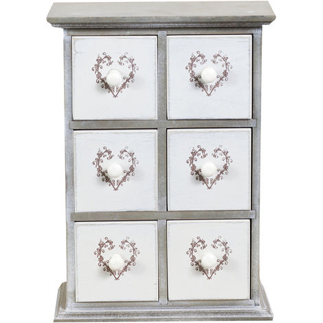 Paulownia wood made bleached gray finish W24xDP12xH34 cm sized little drawer unit