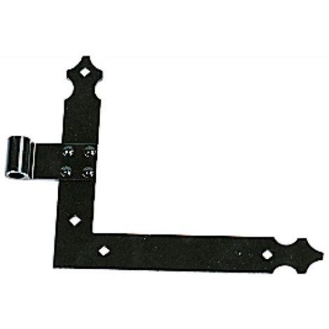 Paumelle équerre bas droite finition noir sans gond pour volets aluminium et PVC