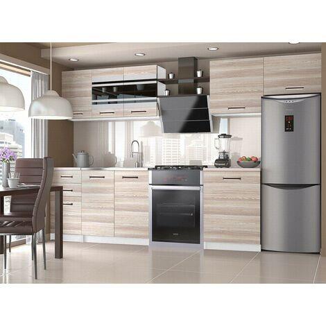 PAVANE   Cuisine Complète Modulaire Linéaire L 300/180 cm 9 pcs   Plan de travail INCLUS   Ensemble armoires cuisine   Acacia