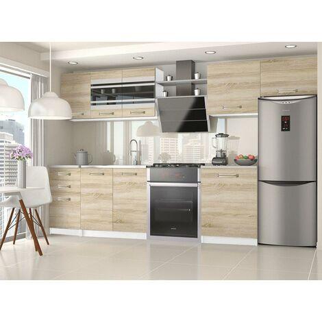 PAVANE   Cuisine Complète Modulaire Linéaire L 300/180 cm 9 pcs   Plan de travail INCLUS   Ensemble armoires meubles de cuisine   Sonoma