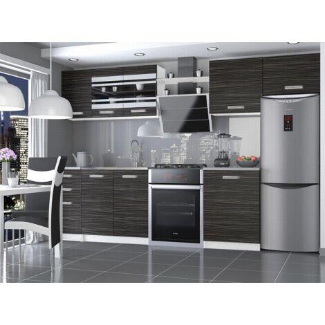 PAVANE | Cuisine Complète Modulaire Linéaire L 300/180cm 9 pcs | Plan de travail INCLUS | Ensemble armoires meubles cuisine | Ébène