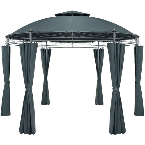 Pavilion Garden Gazebo Party Tent Marquee Toscana Ø350cm Metal Water-repellent Patio Anthracite