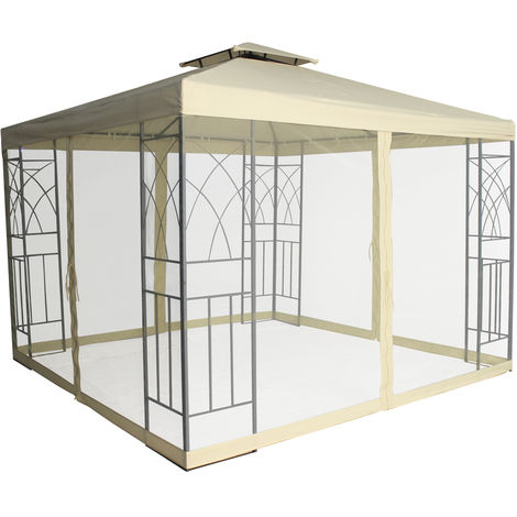 Pavilion Gazebo Side Net Marquee Fly Screen Gathering Mosquito Netting Washable Removable (Side Net Only)