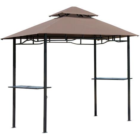Pavillon abri tonnelle de jardin pour barbecue double toit 2 tablettes incluses tissu polyester acier 2,45 x 1,48 x 2,55 m chocolat