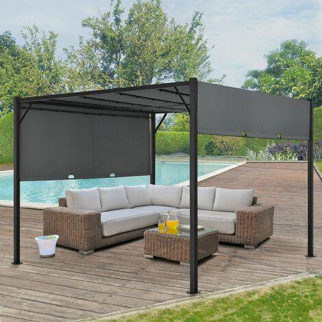 Pavillon Cavo 3 × 3 m grau – Pergola mit LED Beleuchtung & Flachdach – Sonnenschutz Garten Terrasse – Terrassenüberdachung Stahl-Gestell
