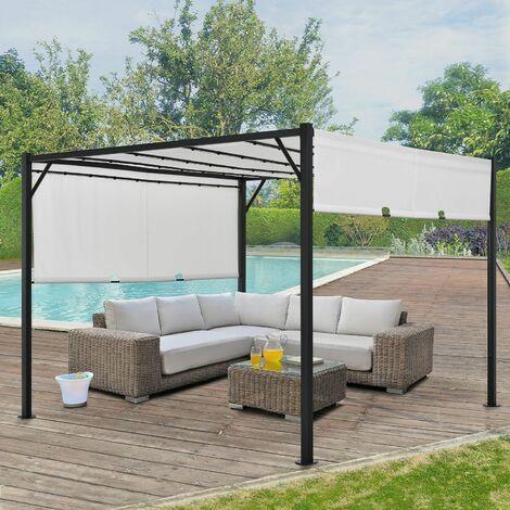 Pavillon Cavo 3 × 4 m creme – Pergola mit LED Beleuchtung & Flachdach – Sonnenschutz Garten Terrasse – Terrassenüberdachung Stahl-Gestell
