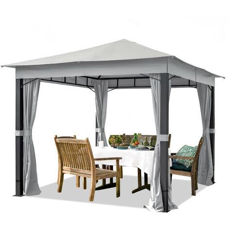 Pavillon de Jardin 3x3 m ALU Premium env. 220g/m² bâche imperméable tonnelle 4 côtés Tente de Jardin Gris Clair env. 9x9 cm Profil