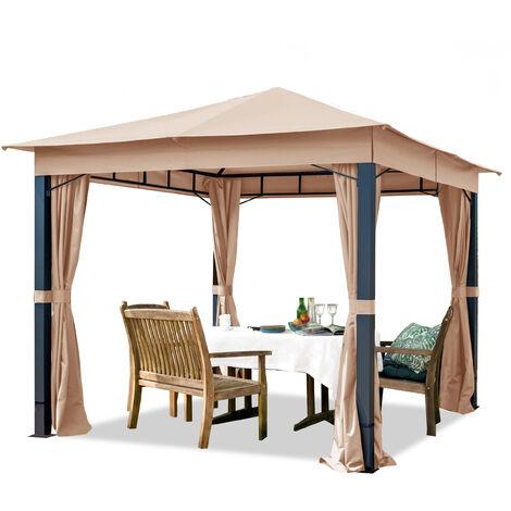 Pavillon de Jardin 3x3 m ALU Premium env. 220g/m² bâche imperméable tonnelle 4 côtés Tente de Jardin Taupe Clair env. 9x9 cm Profil