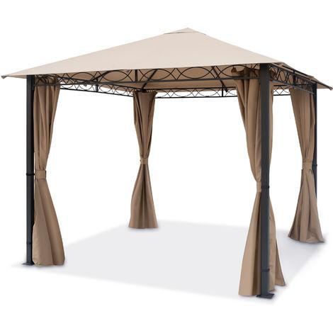 Pavillon de Jardin 3x3 m tonnelle Premium imperméable Tente de Jardin 4 côtés bâche de Toit env. 220g/m² Tente de réception Taupe