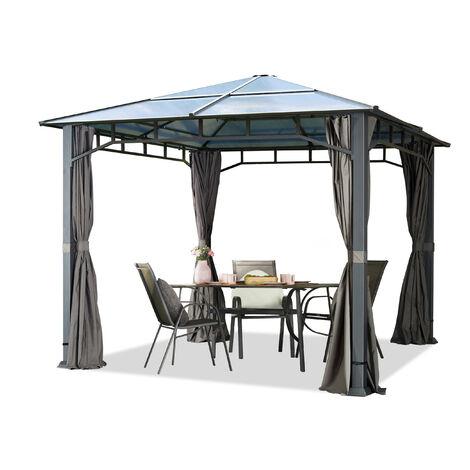 Pavillon de jardin 3x3m imperméable toit en polycarbonate ALU DELUXE tonnelle 8mm pavillon 4 côtés partie tente gris 9x9cm profil