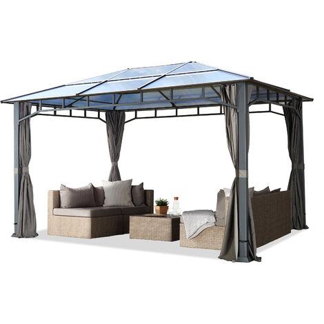 Pavillon de jardin 3x4m imperméable toit en polycarbonate ALU DELUXE tonnelle 8mm pavillon 4 côtés partie tente gris 9x9cm profil