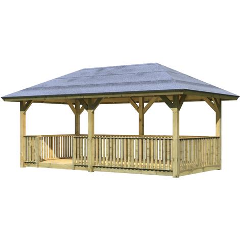 Pavillon de jardin Bois Traité 265x517 cm (11.88 m2) avec plancher +  balustrade BERGEN 2