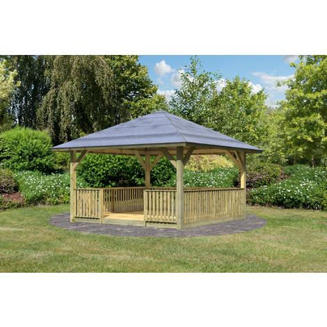 Pavillon de jardin Bois Traité 335x335 cm (11.22 m2) avec plancher +  balustrade HOLM 1