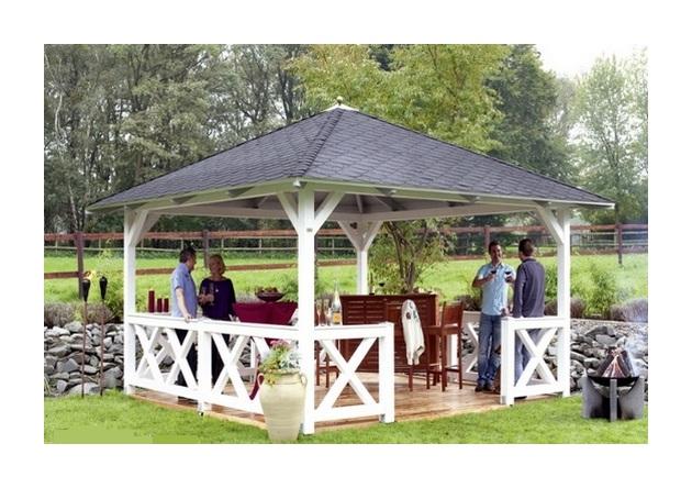 Pavillon de Jardin en Bois Cannes Epaisseur Poteaux 12 cm sans garde corps  et plancher