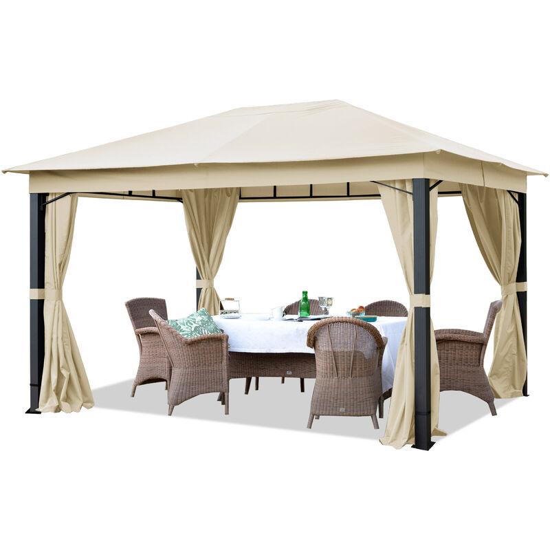 Intent24.fr - Pavillon de Jardin env. 3x4m Tente de Jardin env. 220 g/m² bâche imperméable pavillon champagne