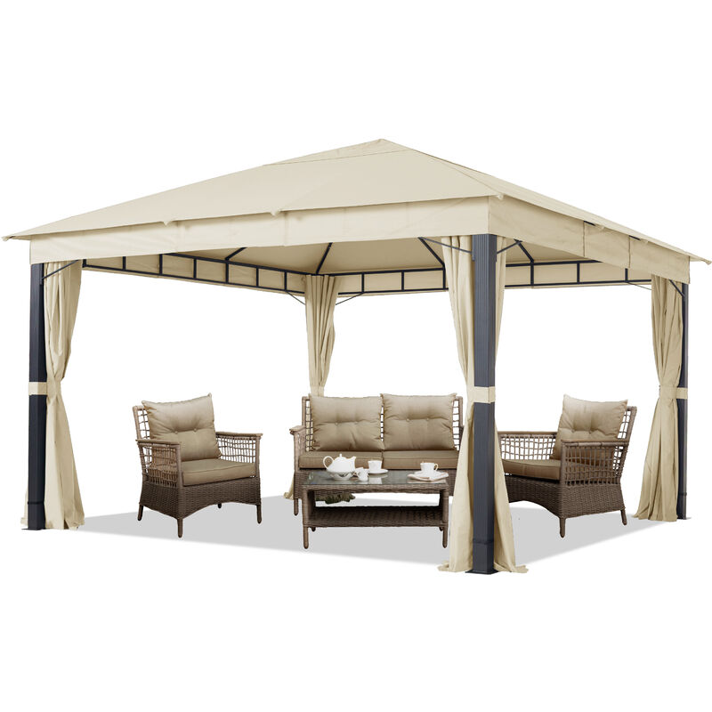 Intent24.fr - Pavillon de Jardin env. 4x4m ALU Premium env. 220 g/m² bâche imperméable pavillon 4 côtés Tente de Jardin Champagne