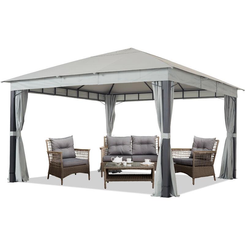 Intent24.fr - Pavillon de Jardin env. 4x4m ALU Premium env. 220 g/m² bâche imperméable pavillon 4 côtés Tente de Jardin Gris