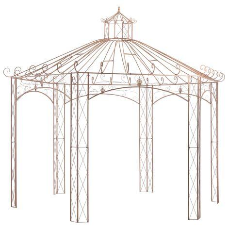 Pavillon de jardin Marron antique 4 m Fer