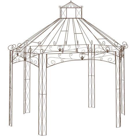 Pavillon de jardin Marron antique 400x258x378 cm Fer