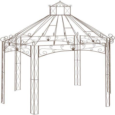 Pavillon de jardin Marron antique 558x350x408 cm Fer