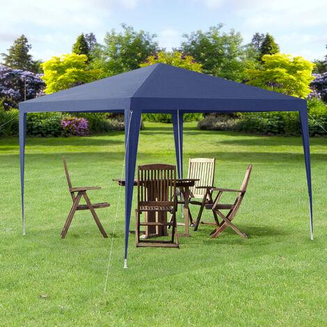 Pavillon de Jardin Tente Tonnelle Polyétylène Acier Revêtu par Poudre Bleu Foncé 300x300x255cm