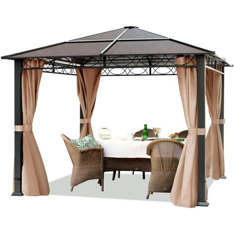 Pavillon de Jardin tonnelle ALU Deluxe imperméable de 3x3 m avec Tente de réception à 4 côtés en Toit en PC translucide Bronze