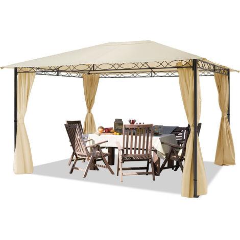Pavillon de Jardin tonnelle étanche de 3x4 m avec Tente de Jardin à 4 côtés, bâche de Toit env. 180g/m² dans Une Tente de réception Beige