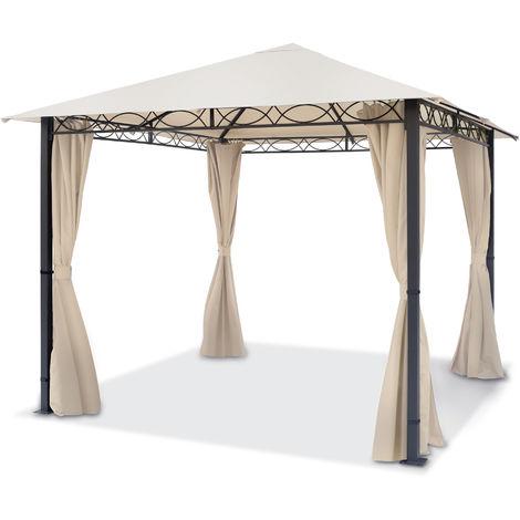 Pavillon de Jardin tonnelle Premium imperméable de 3x3 m avec Tente de Jardin à 4 côtés bâche de Toit 280 g/m² Tente de réception en Beige