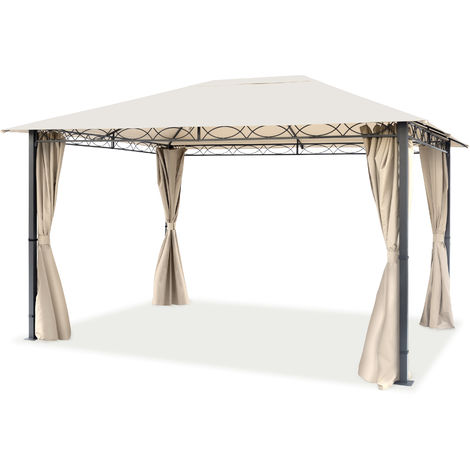 Pavillon de Jardin tonnelle Premium imperméable de 3x4 m avec Tente de Jardin à 4 côtés bâche de Toit env. 220g/m² en Tente de réception Beige