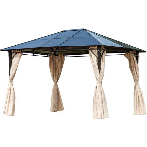 Pavillon de jardin tonnelle rigide dim. 3,65L x 3l x 2,7H m rideaux latéraux anti-UV beige acier noir polycarbonate