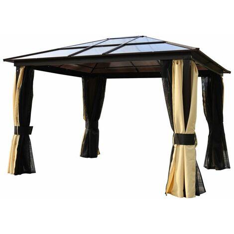 Pavillon de jardin tonnelle rigide dim. 3,6L x 3l x 2,65H m 4 parois latérales anti-UV beige 4 moustiquaires zippées éclairage LED solaire alu polycarbonate noir marron - Noir