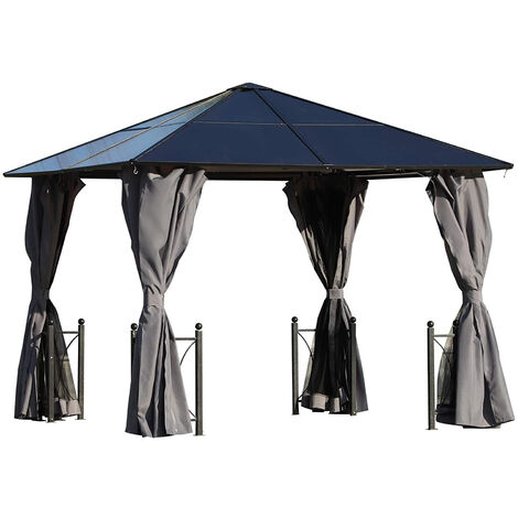 Pavillon de jardin tonnelle rigide dim. 3L x 3l x 2,63H m 4 parois latérales anti-UV grise 4 moustiquaires zippées alu polycarbonate noir