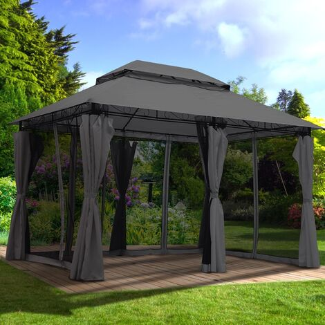 Pavillon EASINESS 3x4m anthrazit inkl. Moskitonetz & LED