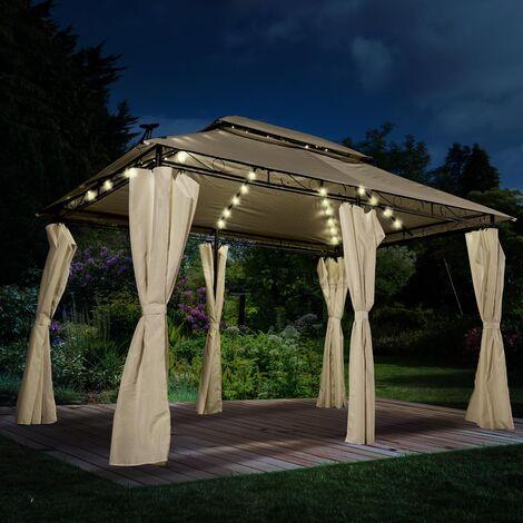 Pavillon EASINESS 3x4m anthrazit inkl. Moskitonetz & LED