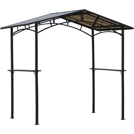 Pavillon jardin - abri barbecue - steakhouse 2 étagères - toit de barbecue - dim. 2,46L x 1,49l x 2,30H m - alu. métal noir toit polycarbonate
