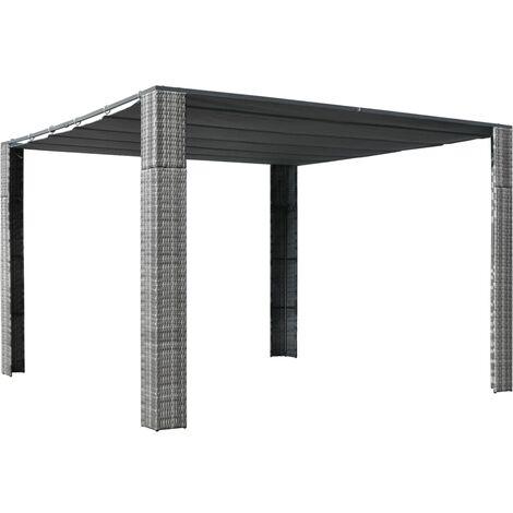 Pavillon mit Dach Poly Rattan 300×300×200 cm Grau und Anthrazit