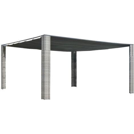 Pavillon mit Schiebedach Poly Rattan 400 x 400 x 200 cm Grau