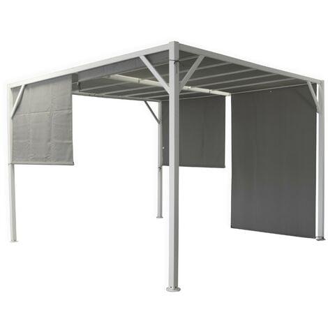 Pavillon pergola 3x3 m en métal peint avec auvents latéraux | Metallo