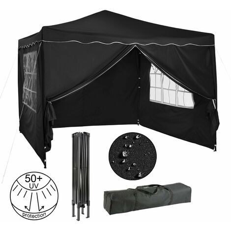 Pavillon pliable Tente de réception 3x3 m avec parois antracite