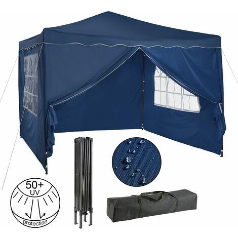 Pavillon pliable Tente de réception 3x3 m avec parois bleu